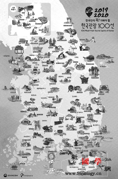"""""""韩国观光100选"""":这张旅游地图有_景点-韩国-石佛-观光-"""