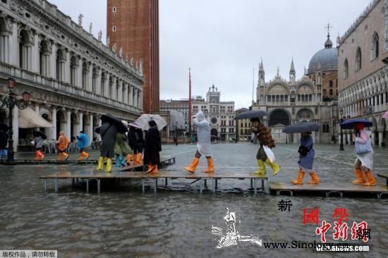 外媒:意大利威尼斯遭连日暴雨侵袭已致_美联社-意大利-水位-