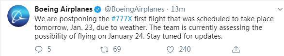 波音再遇挫!天气不给力777X飞机首_波音-截图-飞机-