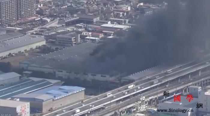 日本东京附近一处工厂起火邻近高速被黑_叶县-日本-工厂-