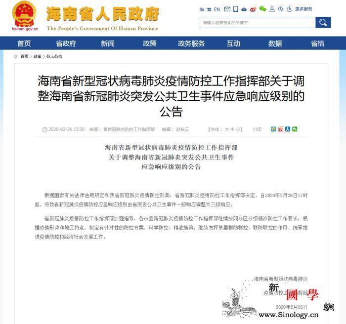 海南新冠肺炎疫情防控应急响应级别由一_指挥部-海南省-肺炎-