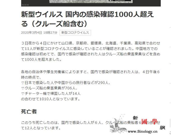 日本新冠肺炎确诊病例累计达1010例_日本-病例-累计-