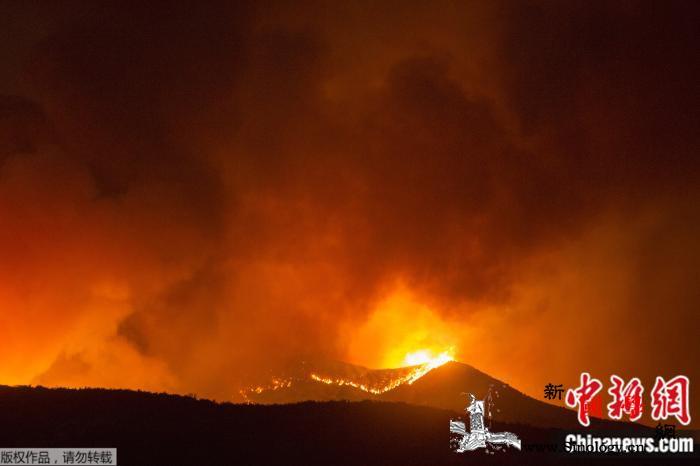 美加州发生野火:延烧超1.2万英亩火_野火-火势-樱桃-
