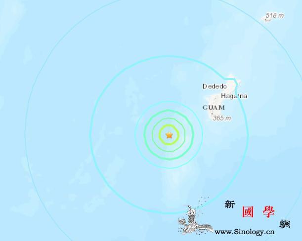 关岛附近海域发生5.4级地震震源深度_震源-关岛-美国-