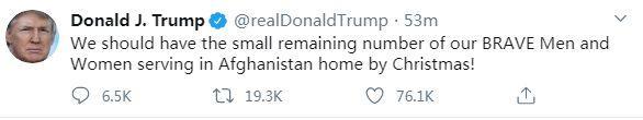 特朗普:驻阿富汗美军应在圣诞节前撤回_阿富汗-撤回-驻扎-