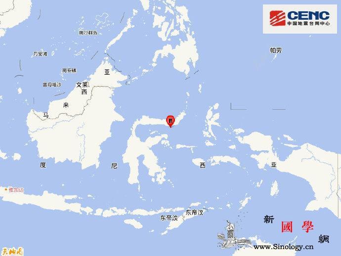 印尼北苏拉威西省附近海域发生5.7级_印尼-台网-震源-