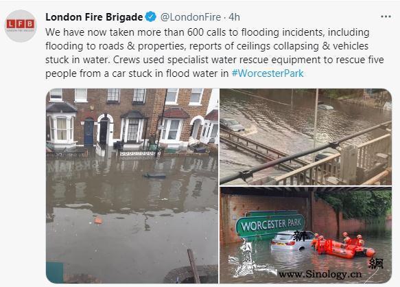 英国伦敦大雨滂沱市区街道积水多个车辆_伦敦-法新社-气象局-