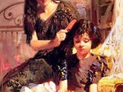 油画:女人、孩子与玩偶 ()