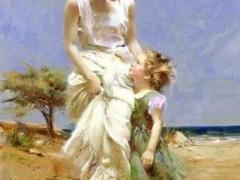 油画:女人与孩子 ()