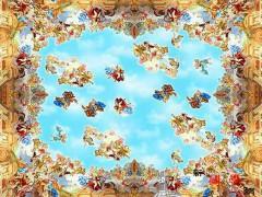油画:天空与花朵 ()