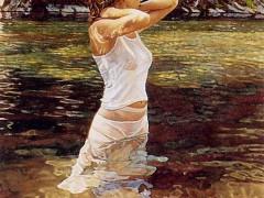 油画:水中的女孩 ()